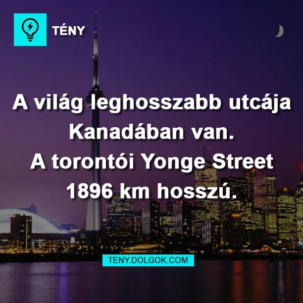 A világ leghosszabb utcája Kanadában van. A torontói Yonge Street 1896 km hosszú.